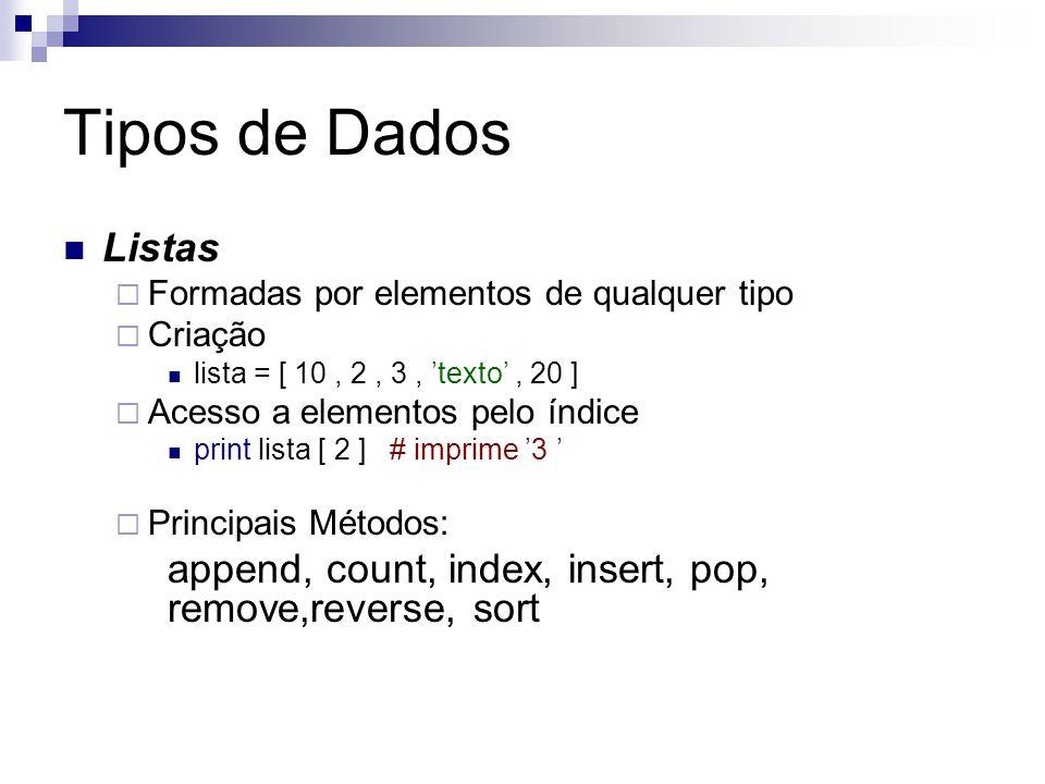 Tipos de Dados Listas. Formadas por elementos de qualquer tipo. Criação. lista = [ 10 , 2 , 3 , 'texto' , 20 ]